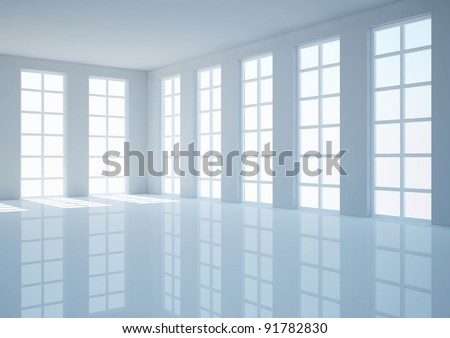 empty wide room with french windows, classic interior - 3d illustration