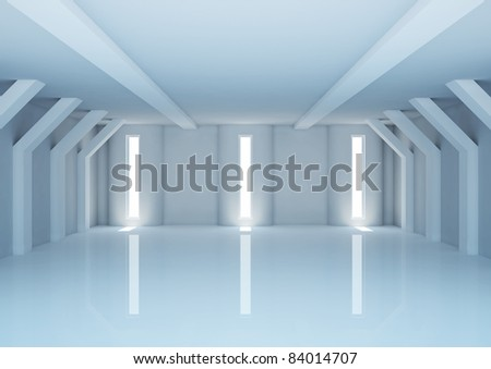 empty wide room with futuristic columns and narrow openings - 3d illustration