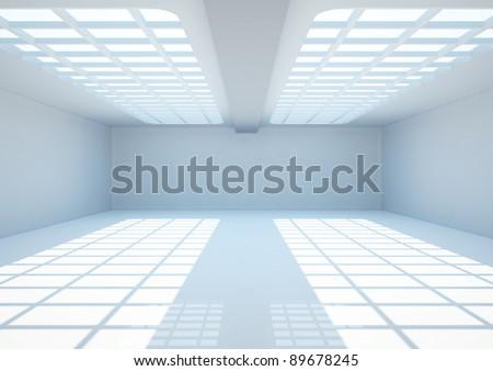 empty wide room with lattice - 3d illustration - stock photo