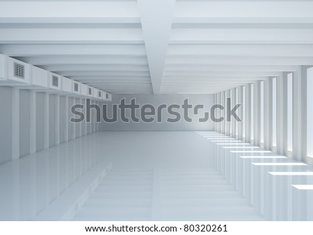 empty wide room with narrow openings, columns and ventilation - 3d illustration - stock photo