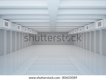 empty wide room with ventilation and columns, warehouse space - 3d illustration - stock photo