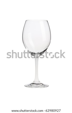 Empty wine glass isolated on white - stock photo