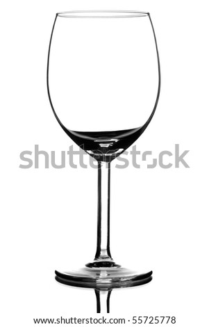 empty wine glass on white background