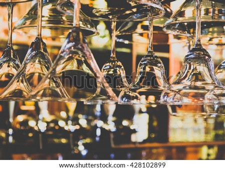 empty wine glasses, abstract art. Image is vintage effect and some noise added
