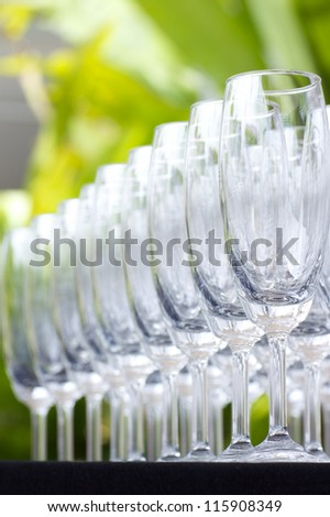 Empty wine glasses in the garden party