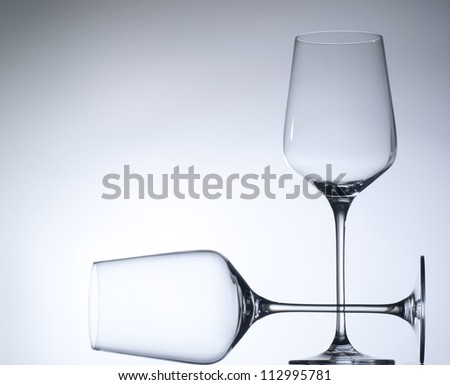 Empty wine glasses. isolated on a white - stock photo