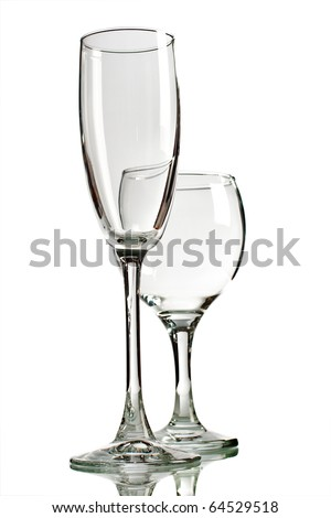 Empty wine glasses isolated on white background