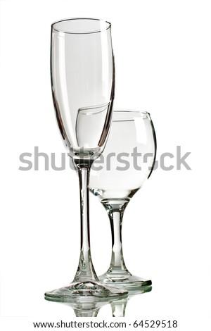 Empty wine glasses isolated on white background - stock photo