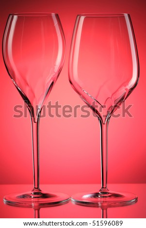 Empty wine glasses with reflection