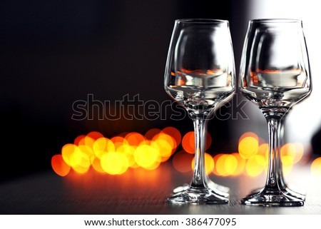 Empty wineglasses on a table, close up