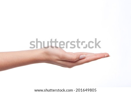 empty woman hand holding isolated on white - stock photo