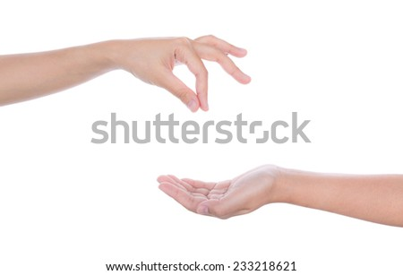 Empty woman hand holding isolated on white