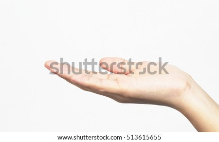 empty woman hand holding isolated on white background