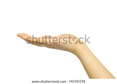 Empty woman hands isolated on white background - stock photo