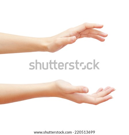 Empty woman hands isolated on white background. Studio photoshoot