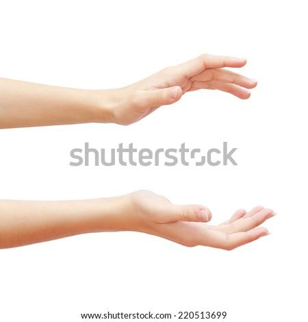 Empty woman hands isolated on white background. Studio photoshoot - stock photo