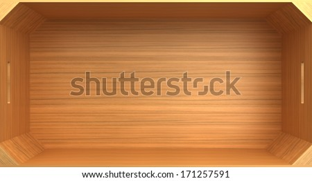 Empty wood box. isolated on white background.3d - stock photo