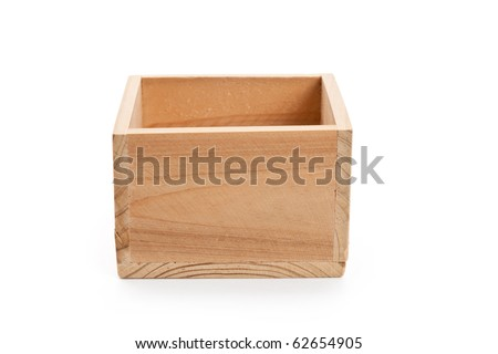 Empty wood Box with white background