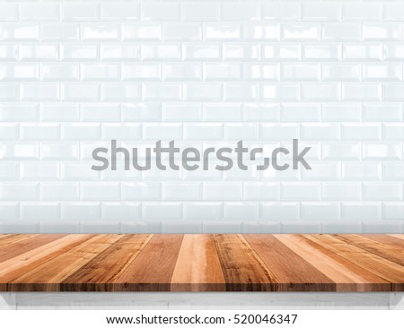 Empty Wood Plank Table Top With Glossy Ceramic White Tile Wall,Mock Up For  Display