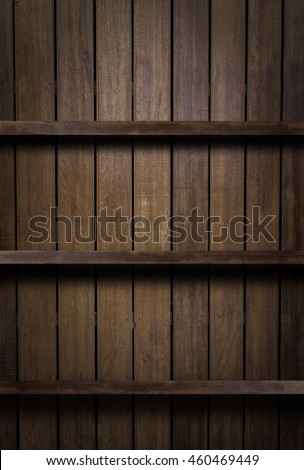 Empty Wood shelf,bookshelves on brown wood