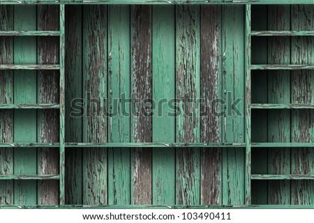 Empty wood shelf. grunge industrial interior Uneven diffuse lighting version. Design component - stock photo