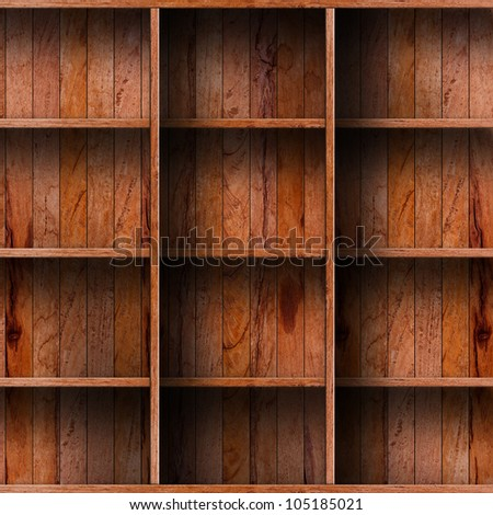 Empty wood shelf. grunge industrial interior Uneven diffuse lighting version. Design component - stock photo