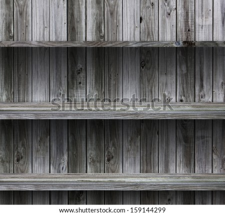 empty wood shelf grunge interior background for display object  - stock photo