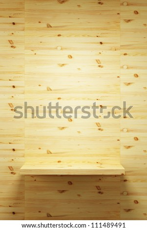 empty wood shelf on wall, 3d render - stock photo
