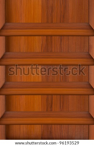 Empty wood shelf on wooden wall