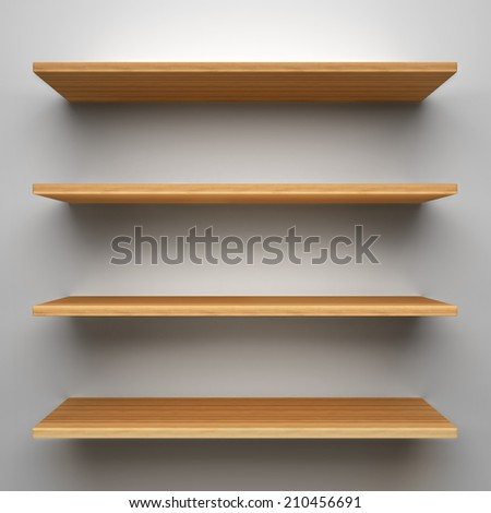 Empty wood shelves on clean soft background. - stock photo