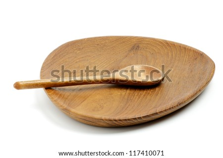 Empty Wood Spoon and Plate isolated on white background