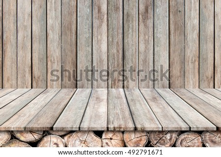 Empty wood table on old wood wall background,for product display.
