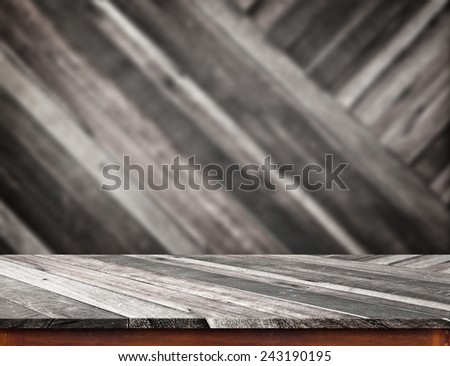 Empty wood table top with blur diagonal wood wall,Product display template - stock photo