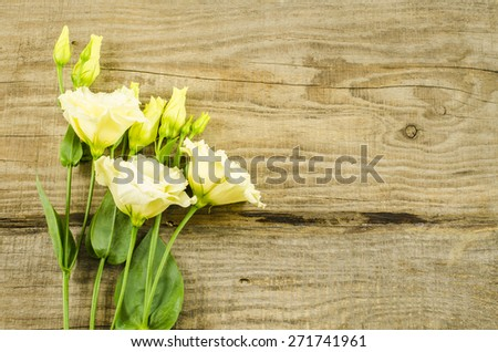 Empty wooden background with colorful flowers - stock photo