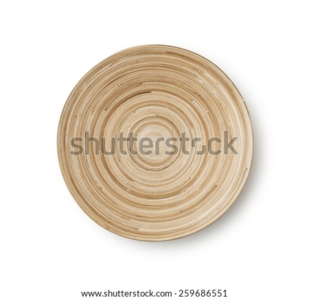 Empty Wooden Bamboo Bowl , isolated , clipping path - stock photo