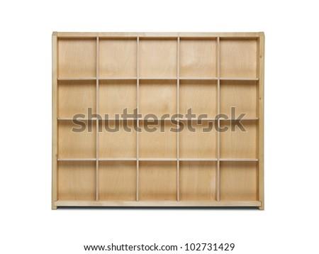 Empty wooden bookshelf isolated on white background - stock photo
