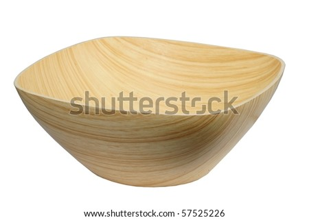 Empty wooden bowl showing grain isolated on white background - stock photo