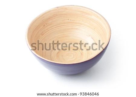 Empty wooden bowl. With clipping path. - stock photo