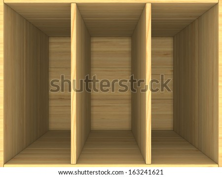 empty wooden box. 3D image - stock photo