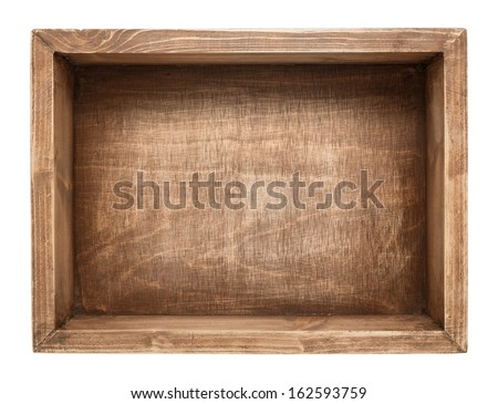 Empty wooden box isolated on white - stock photo