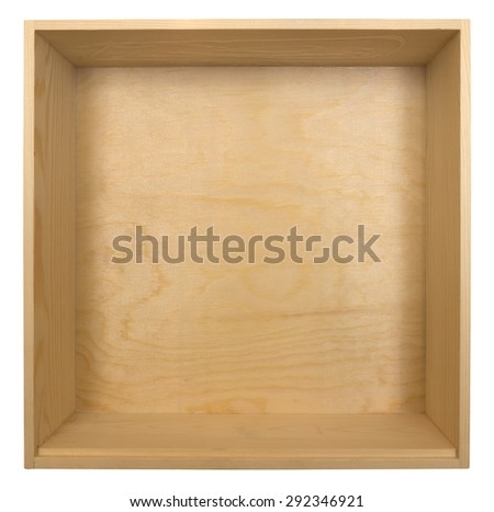 Empty wooden box isolated on white background. Clipping path included. - stock photo