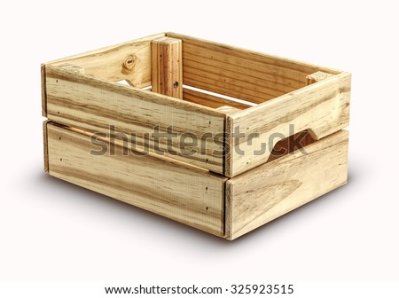 Empty wooden box isolated on white. background .Close up - stock photo