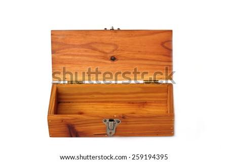 Empty wooden box on white background. - stock photo