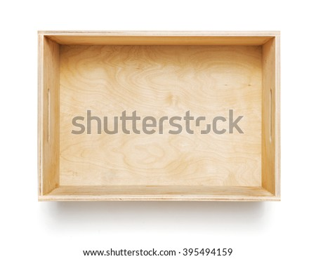 Empty wooden box on white background - stock photo