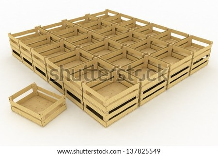 Empty wooden boxes. Containers for fruits and vegetables.