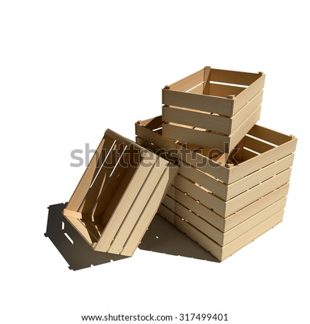Empty wooden boxes isolated on white background - stock photo