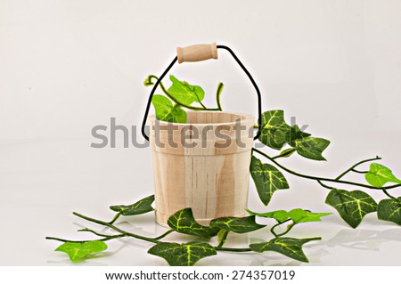 empty wooden bucket on white background - stock photo