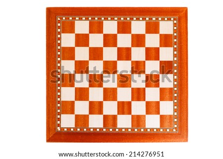 Empty wooden chessboard isolated on white - stock photo