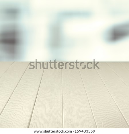Empty wooden counter background for your culinary product placement or advertisement - stock photo