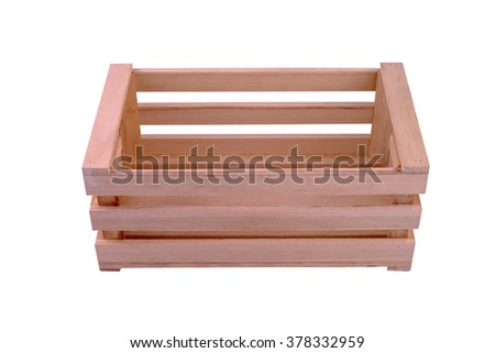 Empty wooden crates on white background.